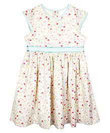 ShopperTree Sleeveless Frock Floral Print - White