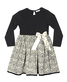 ShopperTree Full Sleeves Frock Abstract Print - White Black