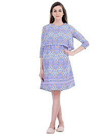 Oxolloxo Three Fourth Sleeves Maternity Multi Shift Floral Dress - Purple & Blue