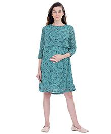 Oxolloxo Three Fourth Sleeves Maternity Multi Shift Dress - Green