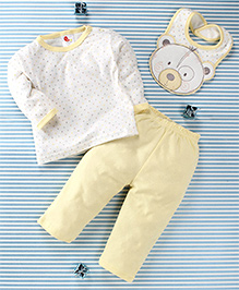 Pretty Kibo Star & Bear Face Print 3 Piece Baby Set -  Yellow