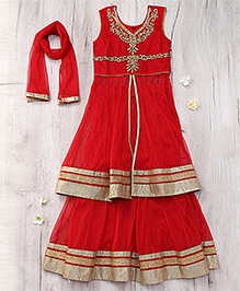 Party Princess Lehenga Choli & Dupatta Set With Stone Work - Red