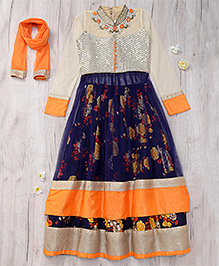 Party Princess Lehenga Choli Dupatta With Flower Print & Sequence - Navy Blue Orange & Cream