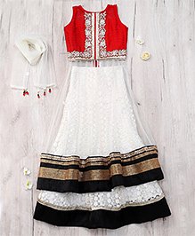 Party Princess Double Layered Lehenga Choli & Dupatta - Cream & Red