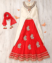 Party Princess Long Top With Lehenga & Dupatta - Cream & Red