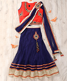 Party Princess Zari Embroidered Top With Lehenga & Dupatta Set - Orange & Navy Blue