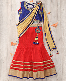 Party Princess Embroidered Top With Lehenga & Dupatta Set - Red & Navy Blue