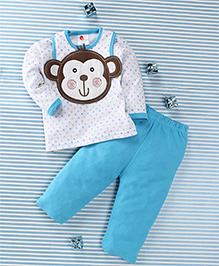 Pretty Kibo Star & Monkey Face Printed 3 Piece Baby Set - Blue