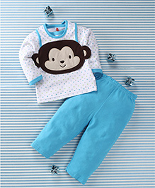 Pretty Kibo Monkey Face Printed 3 Piece Baby Set - Blue