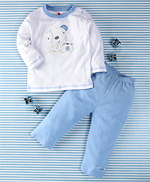 Pretty Kibo Rat Print 2 Piece Tee & Pant Set -  White & Blue
