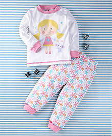 Pretty Kibo Girl & Flower Print 2 Piece Tee & Pant Set -  White & Pink