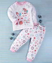 Pretty Kibo Little Friends Print Tee & Pant Set -  White & Pink