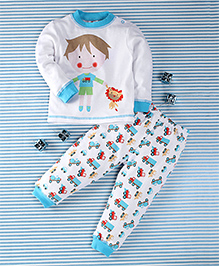 Pretty Kibo Boy Print 2 Piece Tee & Pant Set -  White & Blue