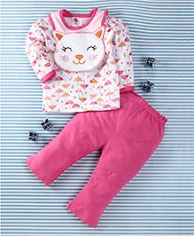 Pretty Kibo Cat Face Print 3 Piece Set -  White & Pink