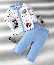 Pretty Kibo Bear Print 2 Piece Tee & Pant Set -  White & Blue