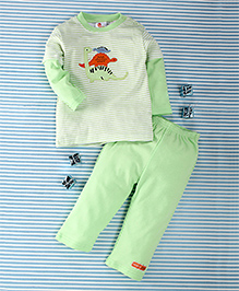 Pretty Kibo Stripes Print 2 Piece Tee & Pant Set -  Light Green