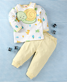 Pretty Kibo Animals Print 3 Piece Set -  White & Light Yellow