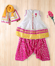 Twisha Festive Patiyala With Embellished Dupatta And Kurta - Hot Pink