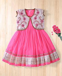 Twisha Fashionable Embroidered Jacket With Net Dress - Hot Pink