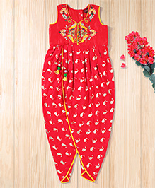 Twisha Trendy Foil Printed Embroidered Playsuit - Red