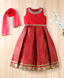 Twisha Embroidered Choli With Brocade Lehanga And Net Dupatta - Red