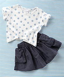 Mobichong Polka Dot Print Top & Skirt Set - White & Grey