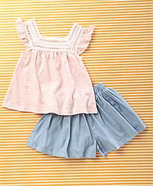 Mobichong Stylish Top & Skirt Set - Off White & Blue