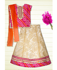 Shilpi Datta Som Traditional Bandhani Style Lengha Choli - Fuchsia Pink & Beige