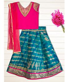 Shilpi Datta Som Shaded Lengha Choli - Fuchsia Pink & Blue