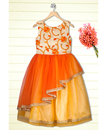 Shilpi Datta Som Layered Gown - Orange & Beige