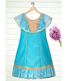 Shilpi Datta Som Indo Western Cape Gown - Sky Blue