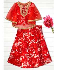 Shilpi Datta Som Floral Cape Lengha - Red