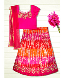 Shilpi Datta Som Shaded Lengha Choli - Fuchsia Pink & Orange