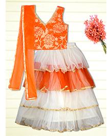 Shilpi Datta Som Frilly Lengha Choli - Orange & White
