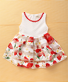 Fashion Collection Attractive Floral Print Dress - White & Red
