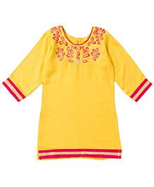 Bunchi Beautiful Embroidered Kurti - Yellow