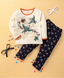 Huali Kids Bird & Flower Print Tee & Leggings Set - Cream & Navy Blue