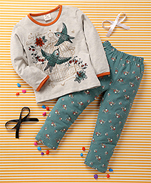 Huali Kids Bird & Flower Print Tee & Leggings Set - Cream & Green