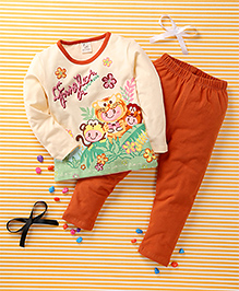 Huali Kids Flower Print Tee & Legging Set - Orange