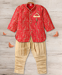Adores Ethnic Kurta Pyjama Set - Red