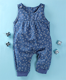 Happiness Floral Print Denim Romper - Blue