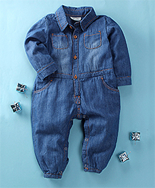 Happiness Full-Sleeves Baby Romper - Blue