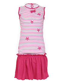 Earth Conscious Organic Cotton Sleeveless Stripe Top And Skirt Star Print - Pink