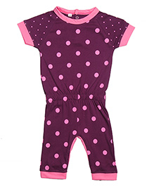 Earth Conscious Organic Cotton Short Sleeves Polka Dot Romper - Purple