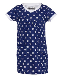 Earth Conscious Organic Cotton Short Sleeves Frock Floral Print - Navy Blue