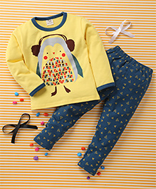 Huali Kids Bird Print Tee & Legging Set - Yellow & Blue