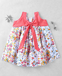 Mom's Girl Dress With Floral Print - Red
