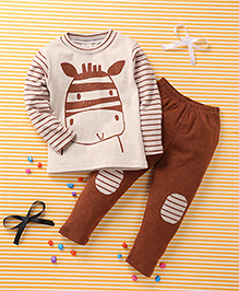 Huali Kids Animal Print T-Shirt & Pant Set - Beige & Brown