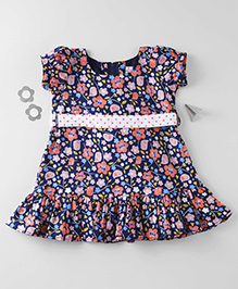 Mom's Girl Bird Printed Dress With Dotted Belt - Navy Blue