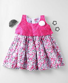 Mom's Girl Lace & Cotton Floral Dress - Pink